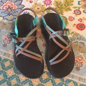 Brown, mint, orange Chacos, size 9